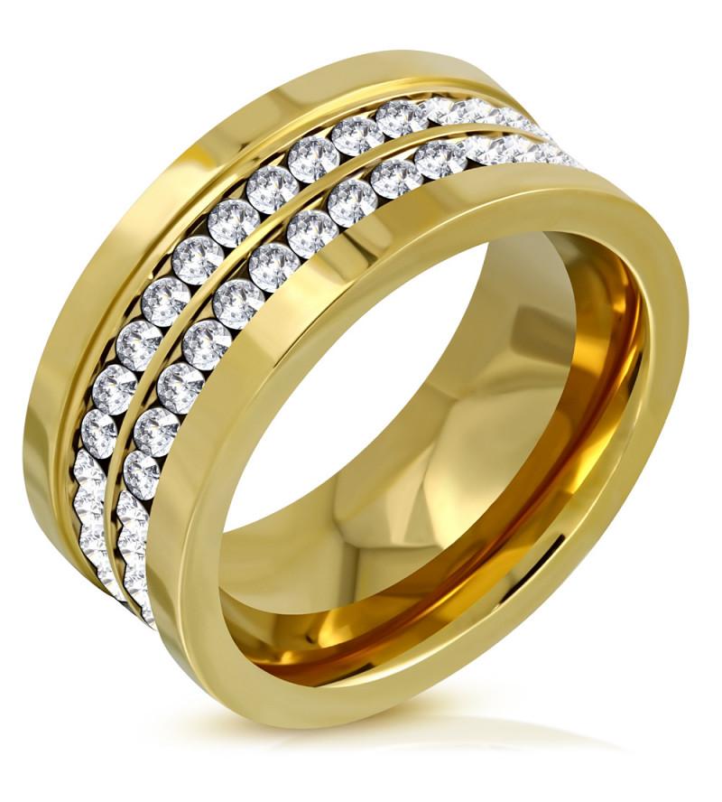 Arany színű, nemesacél gyűrű cirkónia kristállyal