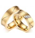Arany színű nemesacél gyűrű, cirkónia kristállyal-7