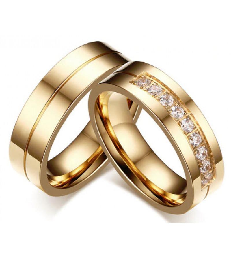 Arany színű nemesacél gyűrű, cirkónia kristállyal női változat