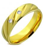 Arany színű nemesacél gyűrű ékszer, cirkónia kristállyal-6