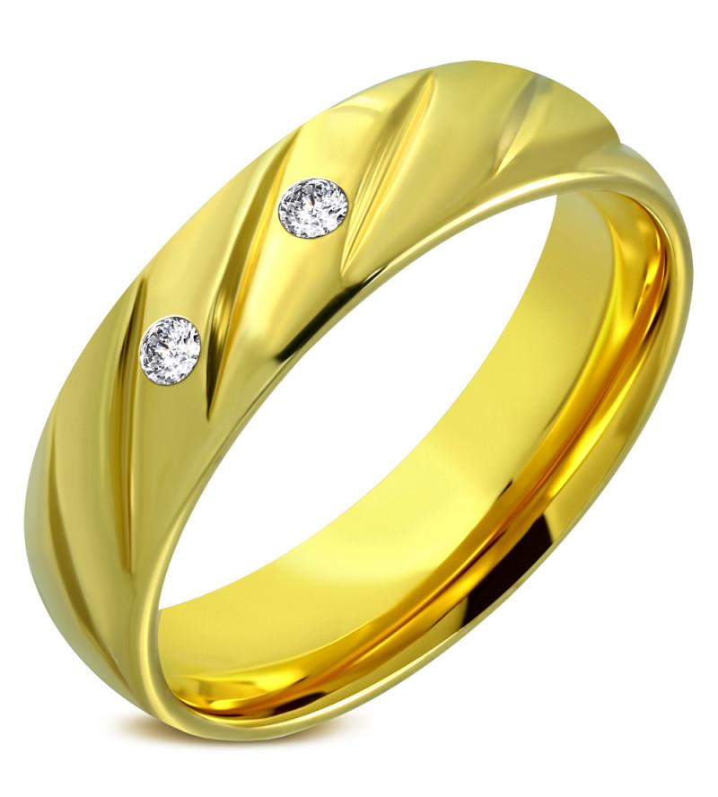 Arany színű nemesacél gyűrű ékszer, cirkónia kristállyal-9