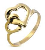 Arany színű nemesacél  gyűrű ékszer, szív formákkal-6