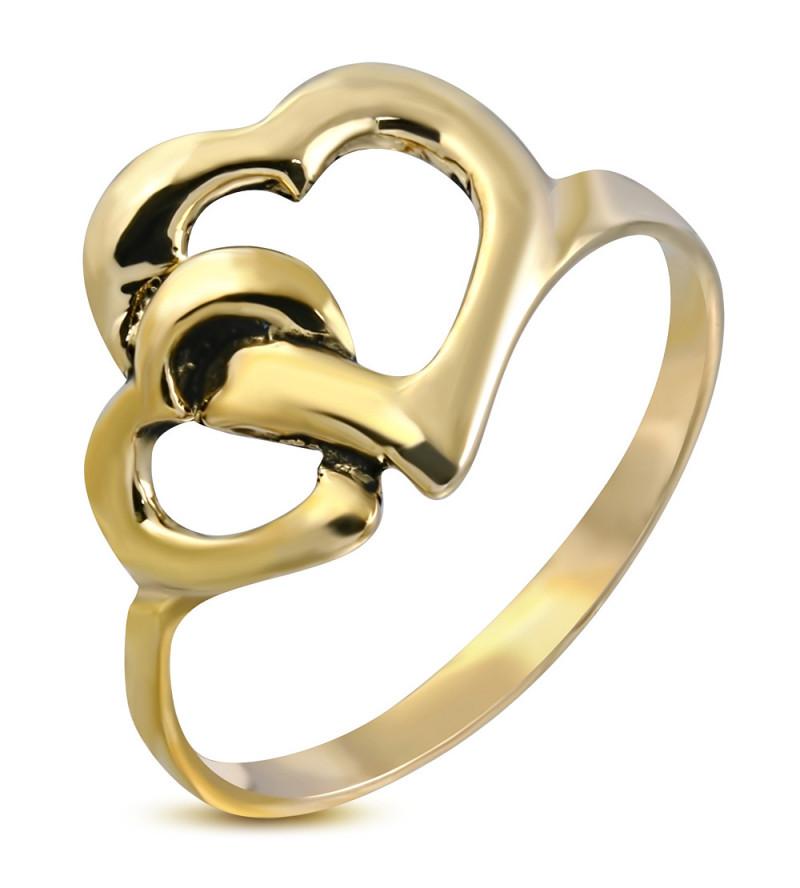 Arany színű nemesacél  gyűrű ékszer, szív formákkal-9