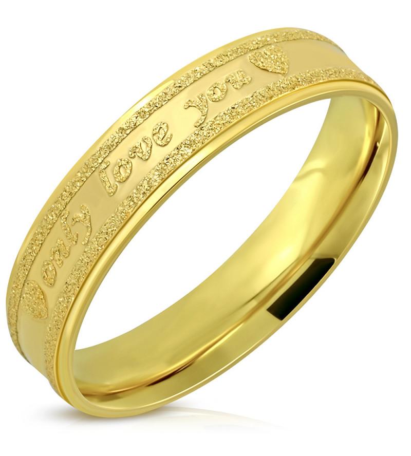 Arany színű nemesacél gyűrű, only love you felirattal -10