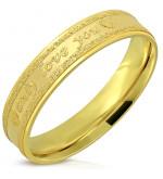 Arany színű nemesacél gyűrű, only love you felirattal -7