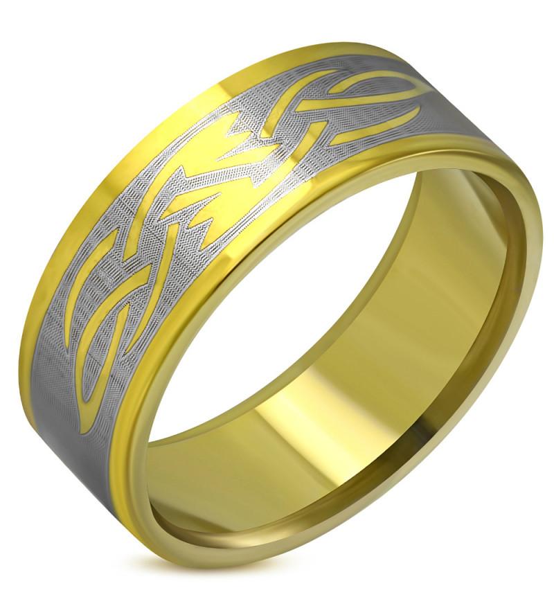 Arany színű, nonfiguratív nemesacél gyűrű ékszer-11