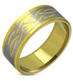 Arany színű, nonfiguratív nemesacél gyűrű ékszer-8