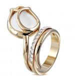 Arany színű, rózsafej alakú koktél gyűrű, cirkónia kristállyal-7
