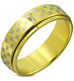 Arany színű sakkmintás, középen forgó nemesascél karikagyűrű-11