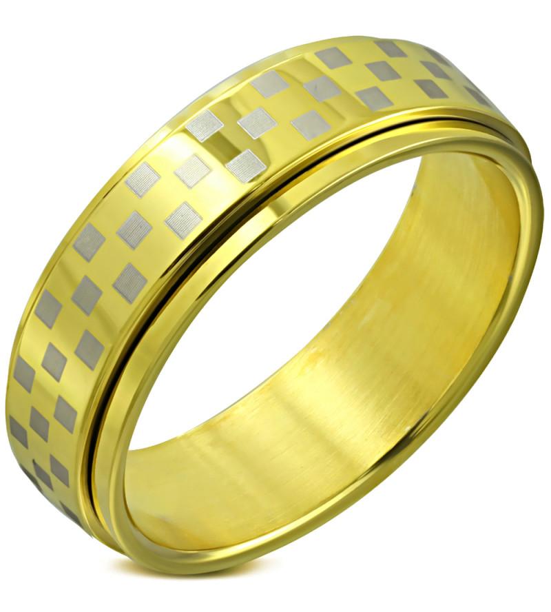 Arany színű sakkmintás, középen forgó nemesascél karikagyűrű-12