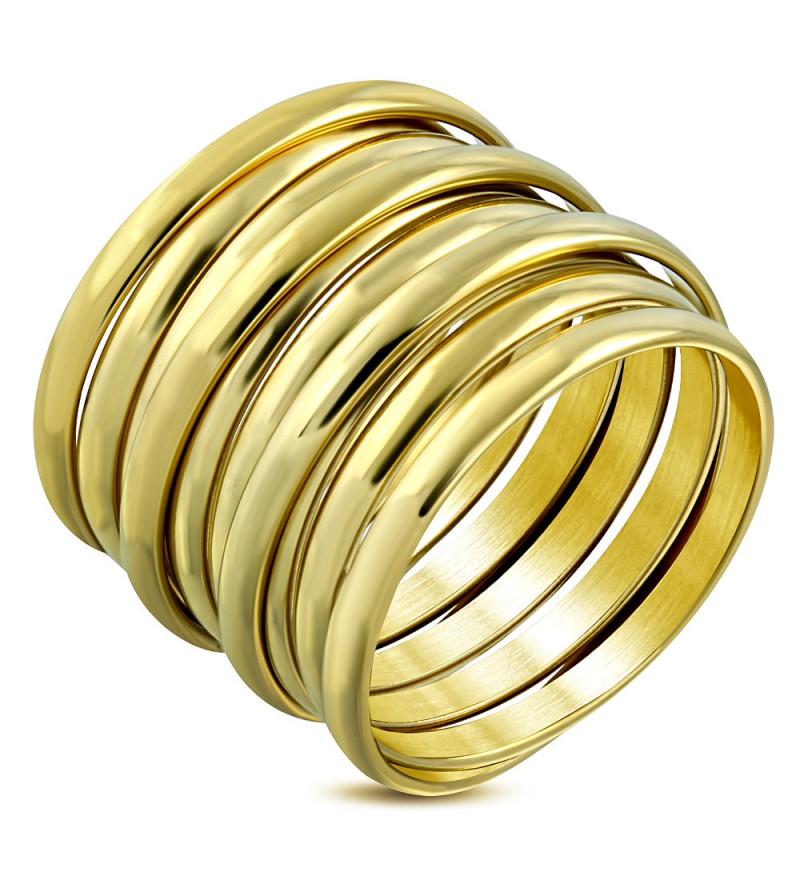 Arany színű, spirál formájú nemesacél gyűrű
