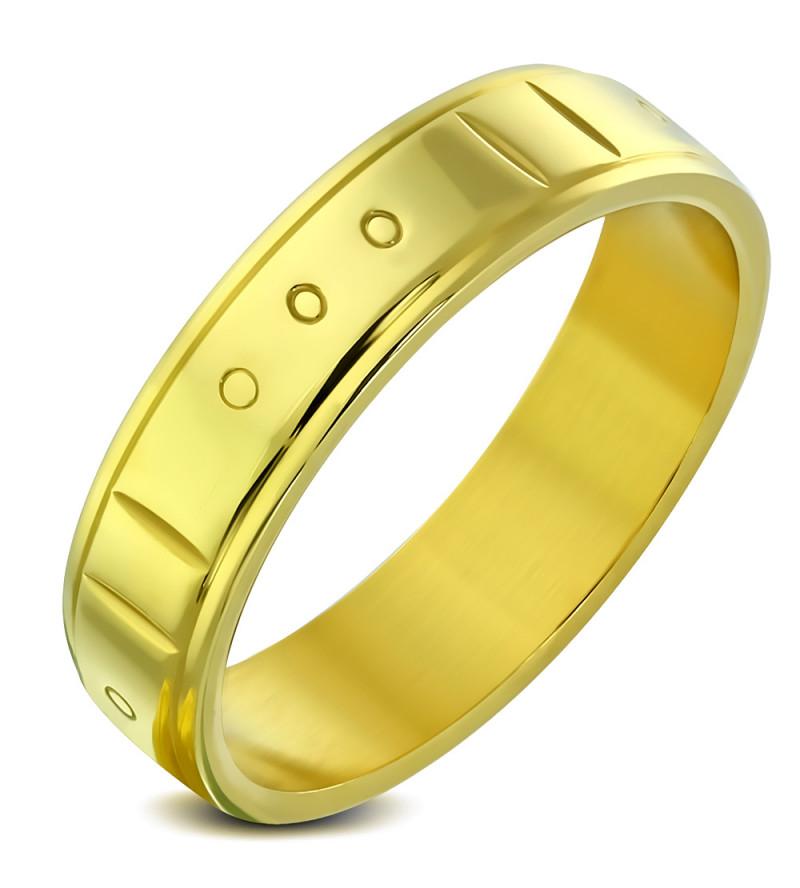 Arany színű, váltott mintás nemesacél gyűrű ékszer