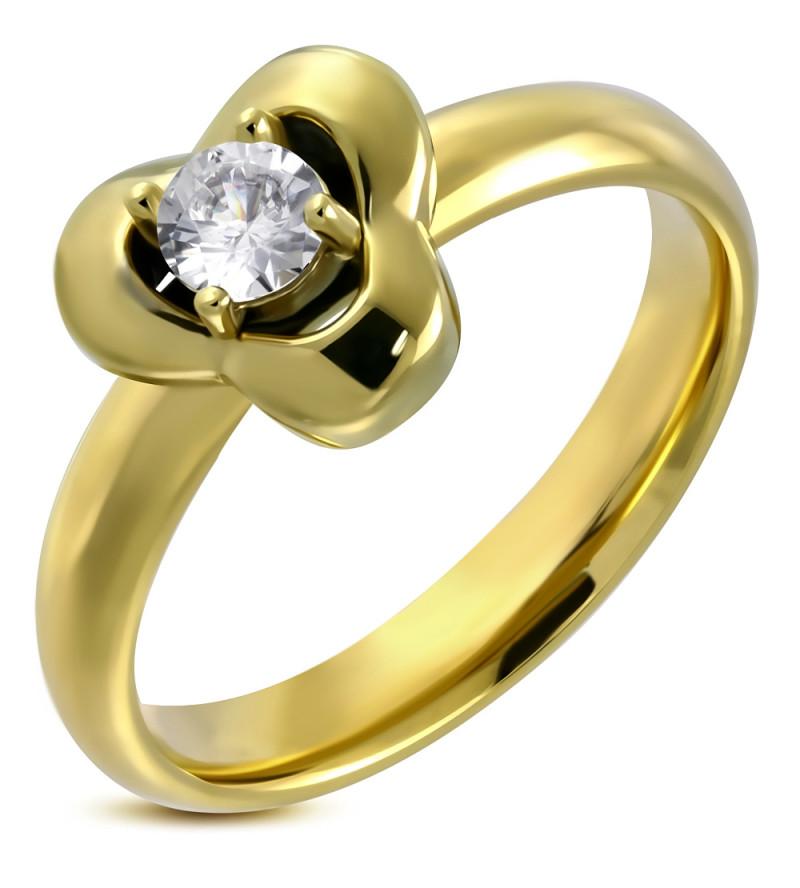 Arany színű, virág, díszes, cirkónia köves nemesacél gyűrű-6