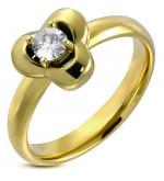 Arany színű, virág, díszes, cirkónia köves nemesacél gyűrű-8