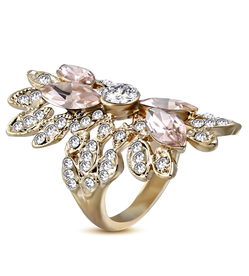 Arany színű, virág mintájú divat gyűrű cirkónia kristályokkal-6,5