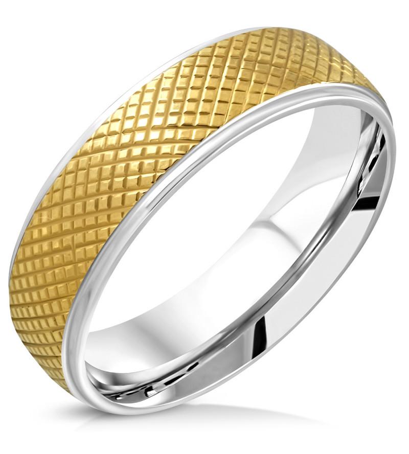 Arany-ezüst színű rácsozott nemesacél gyűrű ékszer-5