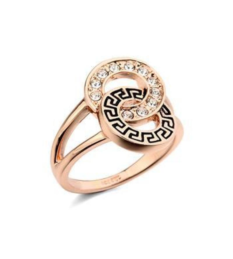 Aranyozott, kristályos gyűrű görög mintával-6