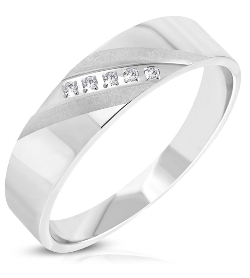Aurora - Ezüst színű, két tónusú, cirkórium köves nemesacél gyűrű ékszer-7