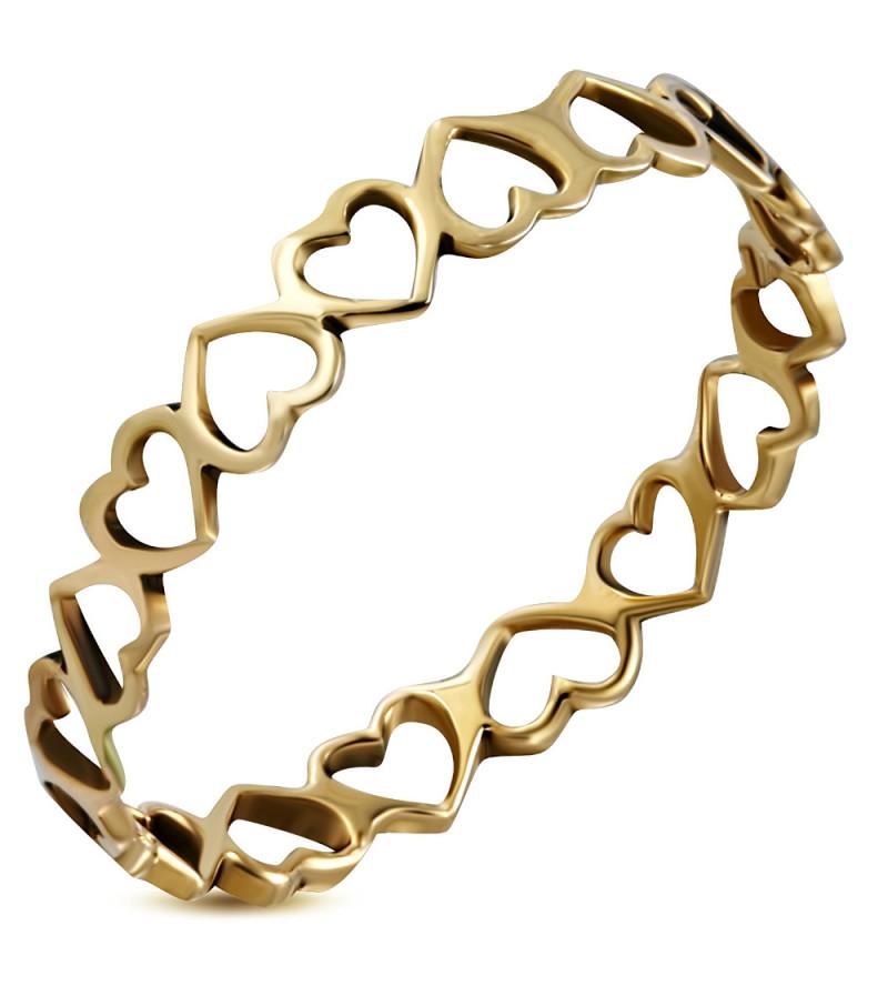 Bronz színű divat gyűrű, szív formájú mintával-10