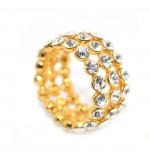 Cirkónia kristályos gyűrű, arany színű