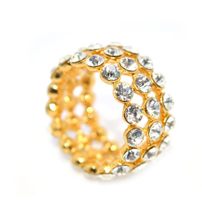 Cirkónia kristályos gyűrű, arany színű-6