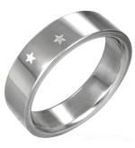 Csillagos ezüst színű nemesacél gyűrű ékszer