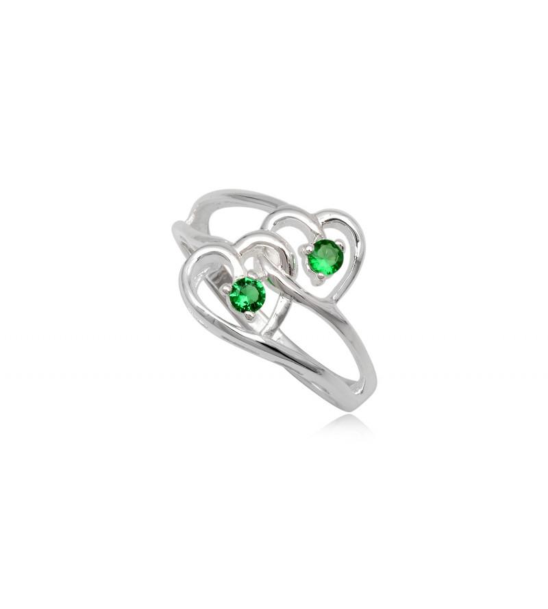 dupla szives ezüst gyűrű zöld cirkónia kristállyal-6