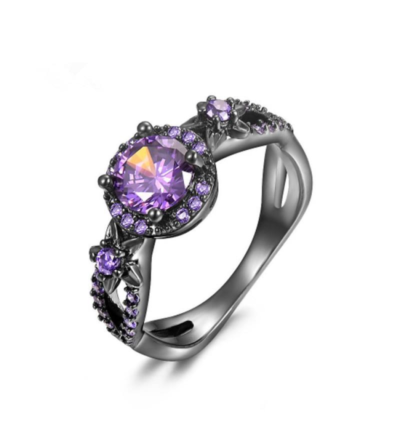 Exclusive Lila Kristályos Gyűrű -7