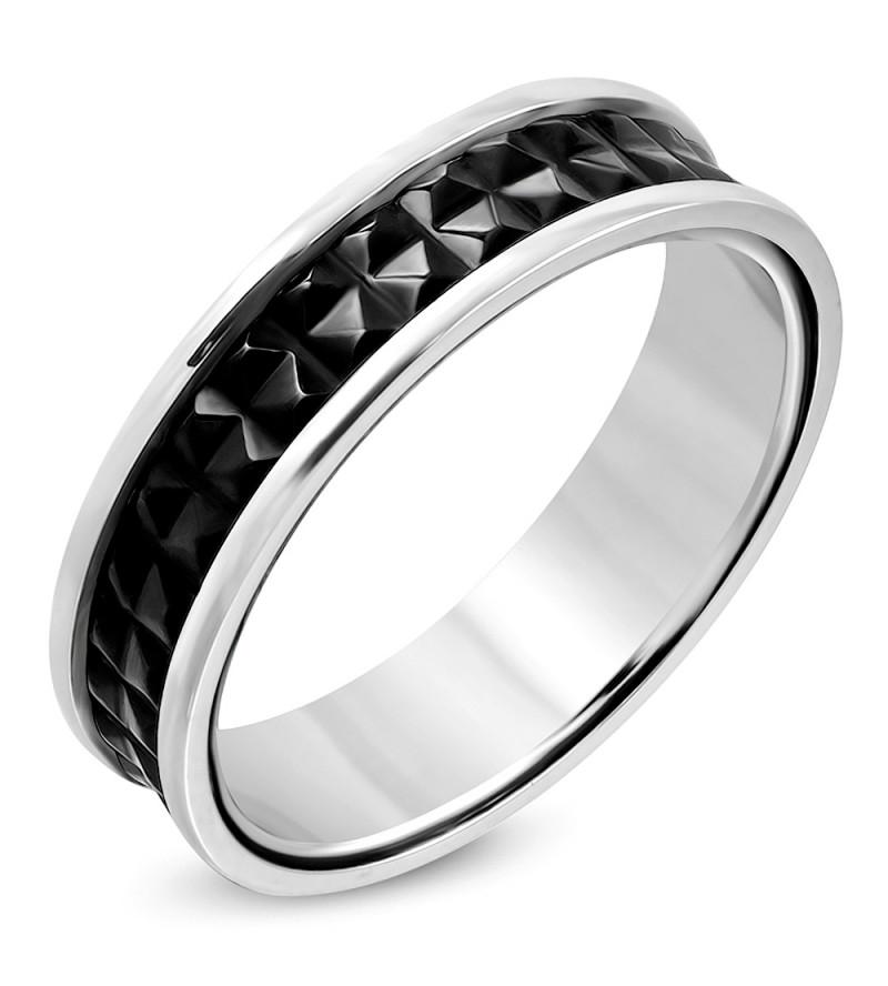 Ezüst és fekete színű nemesacél gyűrű