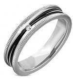 Ezüst és fekete színű nemesacél gyűrű cirkónia kristállyal-8