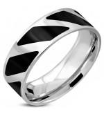 Ezüst és fekete színű nemesacél gyűrű ékszer