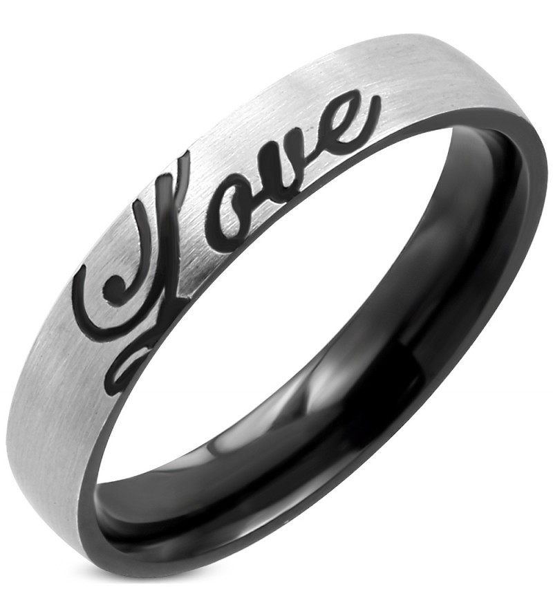 Ezüst és fekete színű nemesacél gyűrű, LOVE felirattal