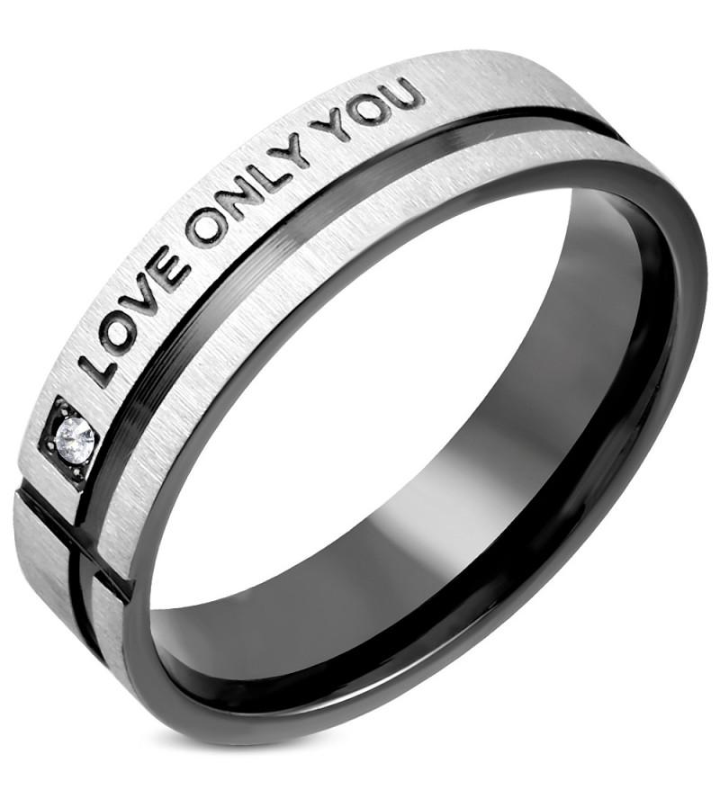 Ezüst és fekete színű nemesacél gyűrű LOVE ONLY YOU felirattal és cirkónia kristállyal-8