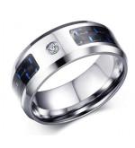 Ezüst és kék színű nemesacél gyűrű, cirkónia kristállyal
