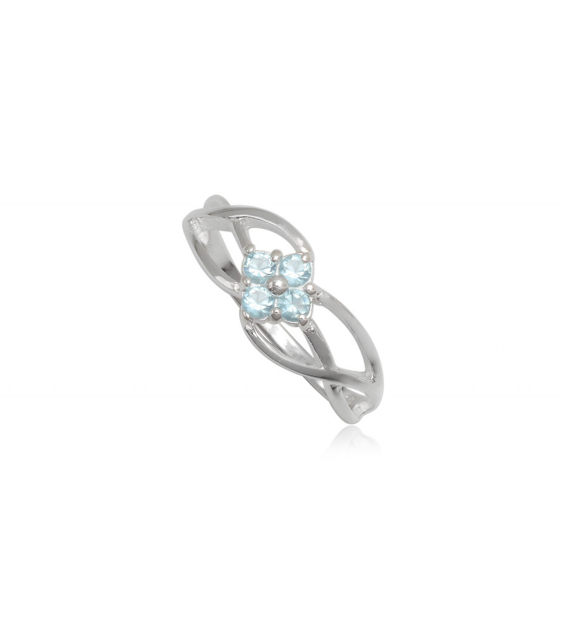 Ezüst gyűrű kék cirkónia kristállyal-7