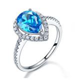 Ezüst gyűrű kék szintetikus gyémánt kővel-8
