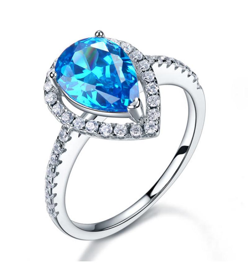 Ezüst gyűrű kék szintetikus gyémánt kővel-9