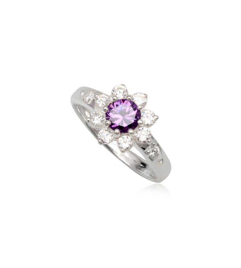 Ezüst gyűrű lila és fehér cirkónia kristállyal-9