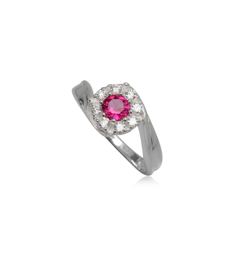 Ezüst gyűrű pink és fehér cirkónia kristállyal-7