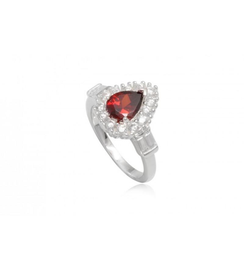 Ezüst gyűrű piros cirkónia kristállyal-6