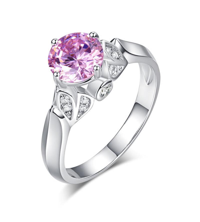 Ezüst gyűrű rózsaszín kővel