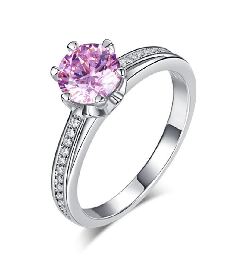 Ezüst gyűrű rózsaszín kristállyal-7