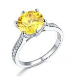Ezüst gyűrű sárga szintetikus gyémánt kővel-6