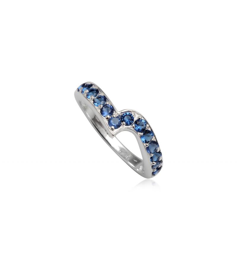 Ezüst gyűrű sötétkék cirkónia kristállyal-7
