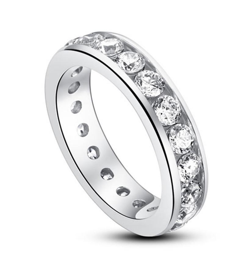 Ezüst gyűrű szintetikus gyémánt kövekkel-8