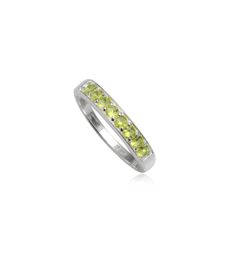 Ezüst gyűrű zöld cirkónia kristállyal-7