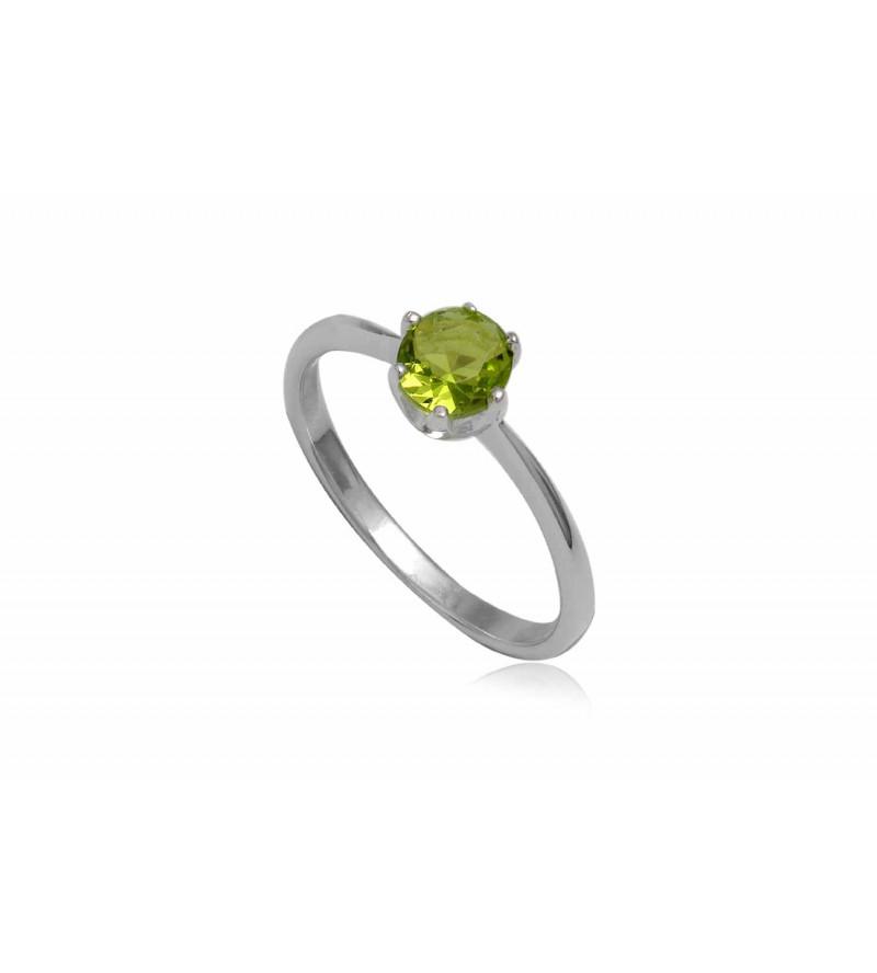 Ezüst gyűrű zöld cirkónia kristállyal-8