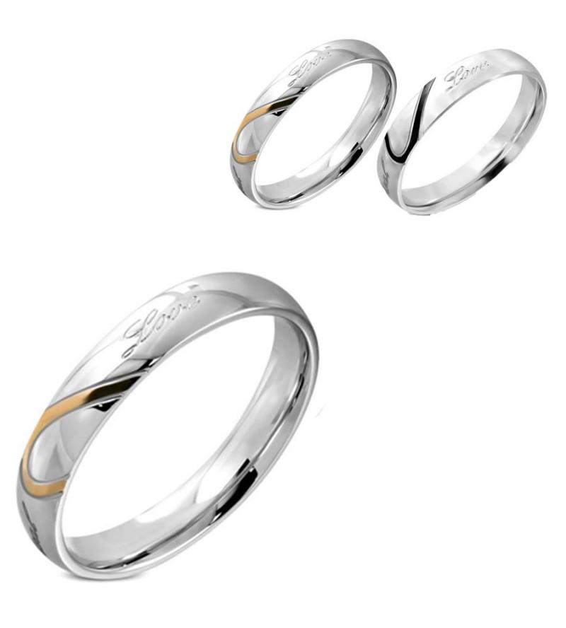 Ezüst színű - Love - feliratú nemesacél gyűrű ékszer-7
