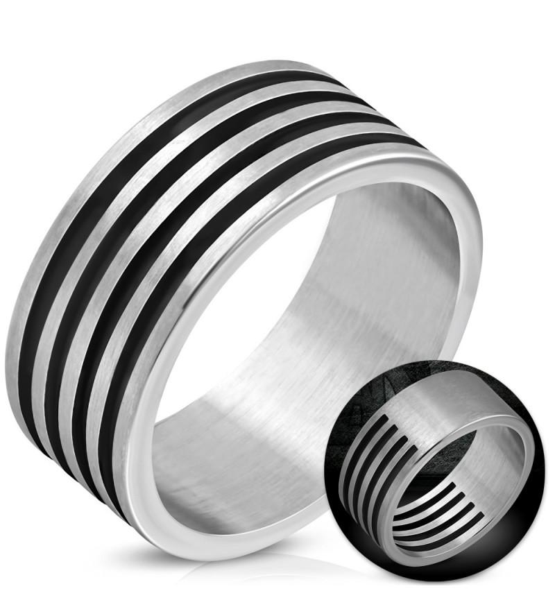 Ezüst színű barázdált, kivágott nemesacél gyűrű