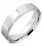 Ezüst színű gyűrű ékszer - szögletes hatással-6
